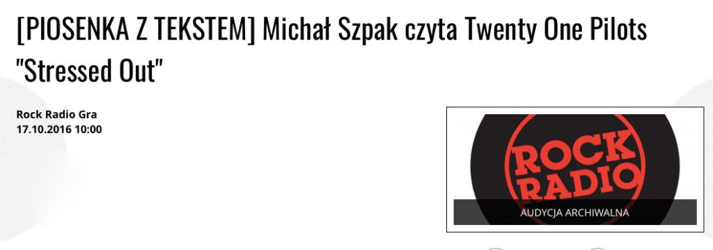 Michał Szpak czyta tekst piosenki