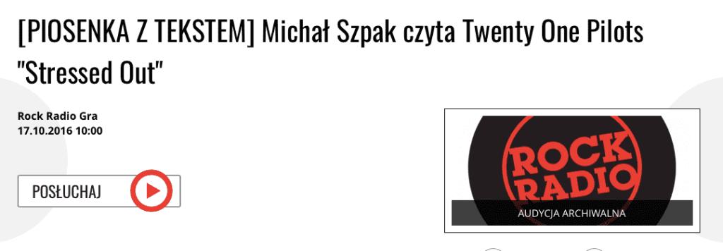 Michał Szpak, a song with lyrics